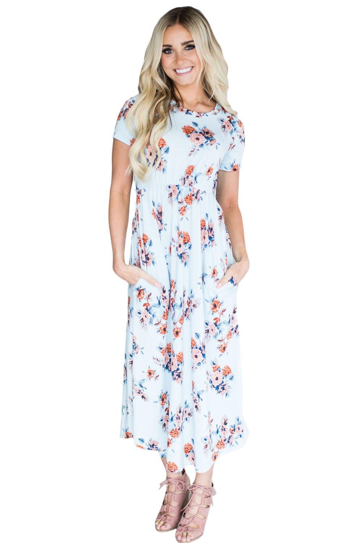 Casual Pocket Design Light Blue Floral Dress
