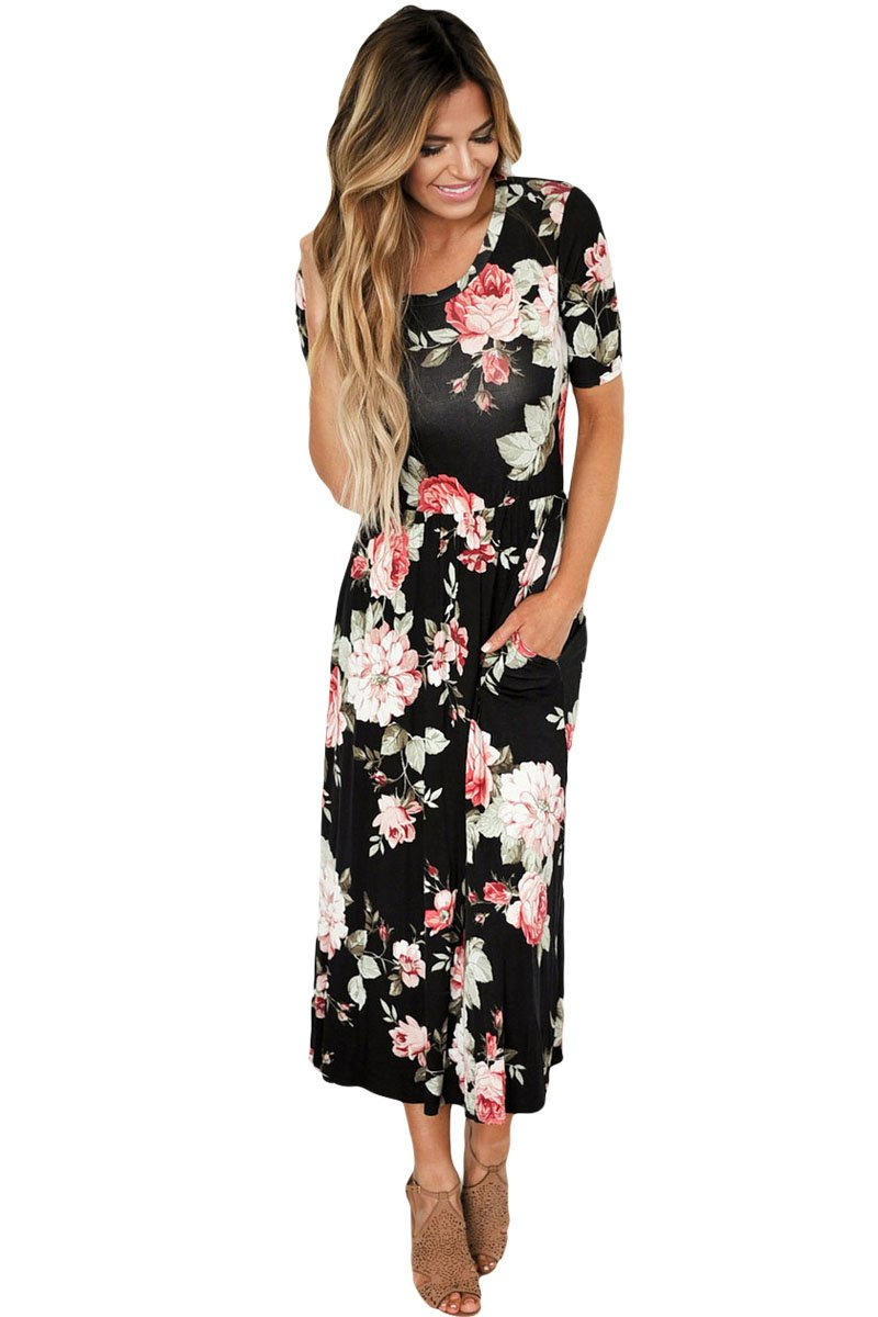 Casual Pocket Design Black Floral Dress