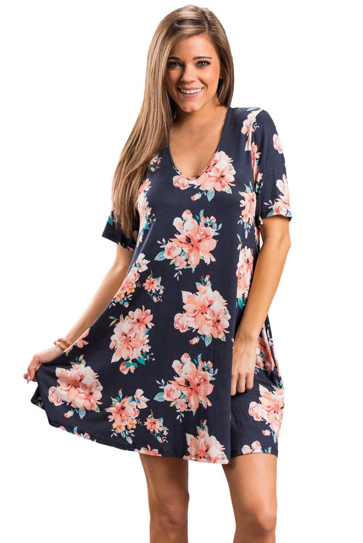 Dark Blue Pocket Design Summer Floral Shirt Dress