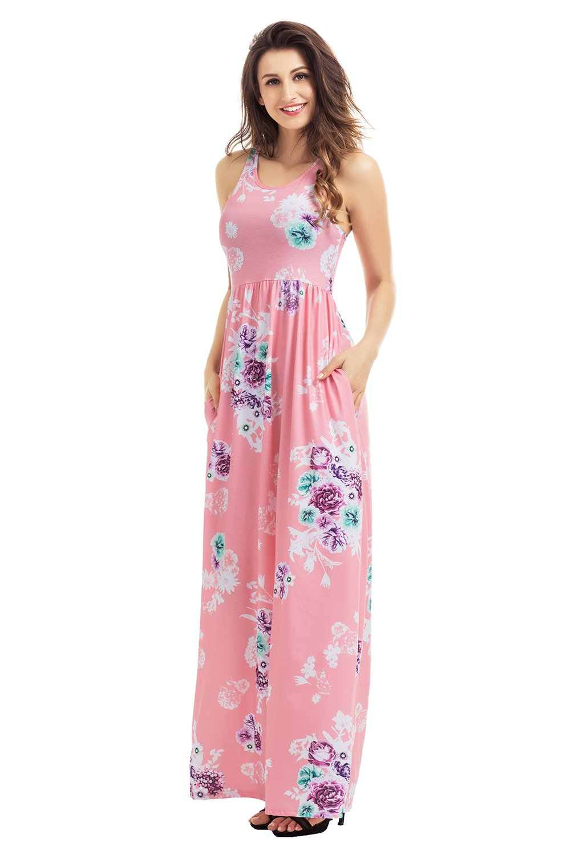 Dusty Pink Floral Print Sleeveless Long Boho Dress