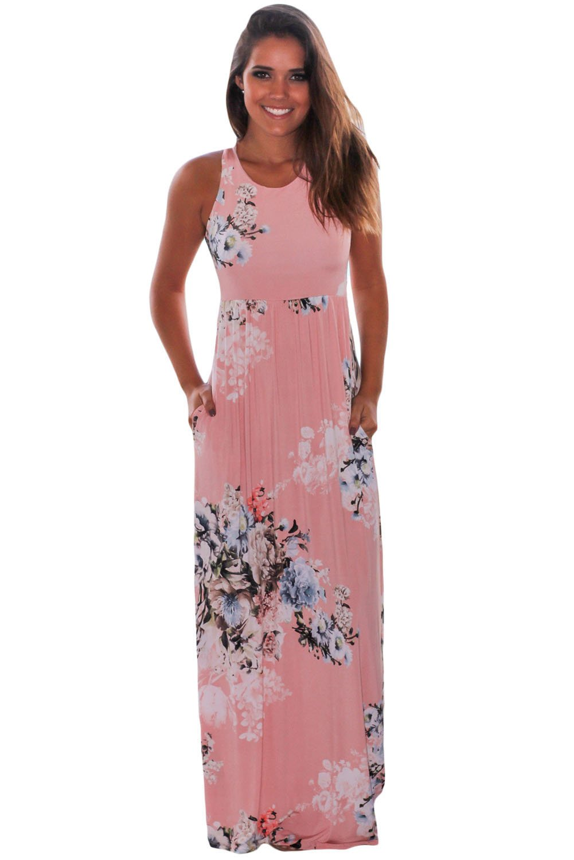 Blush Floral Print Sleeveless Long Boho Dress