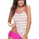 Colorful Polka Dot Rosy 2pcs Tankini Swimsuit