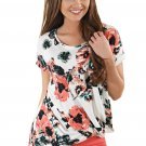 Dark Floral Short Sleeve Knot Top