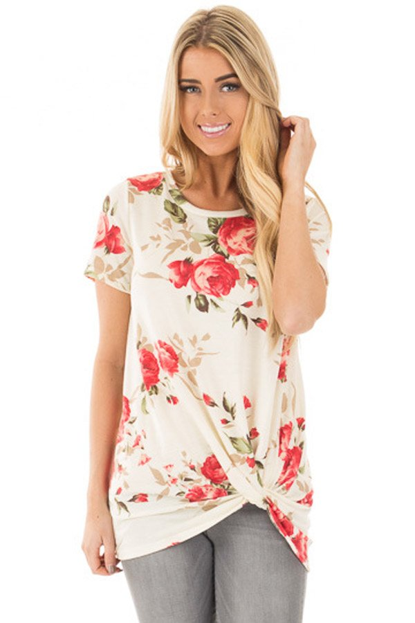 Reddish Floral Short Sleeve Knot Top