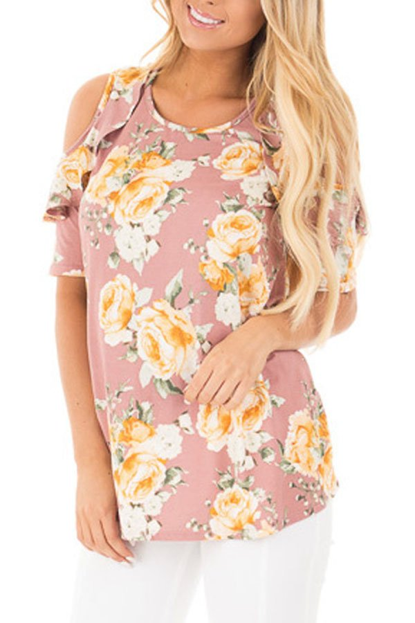 Pink Floral Cold Shoulder Top with Ruffle Sleeve