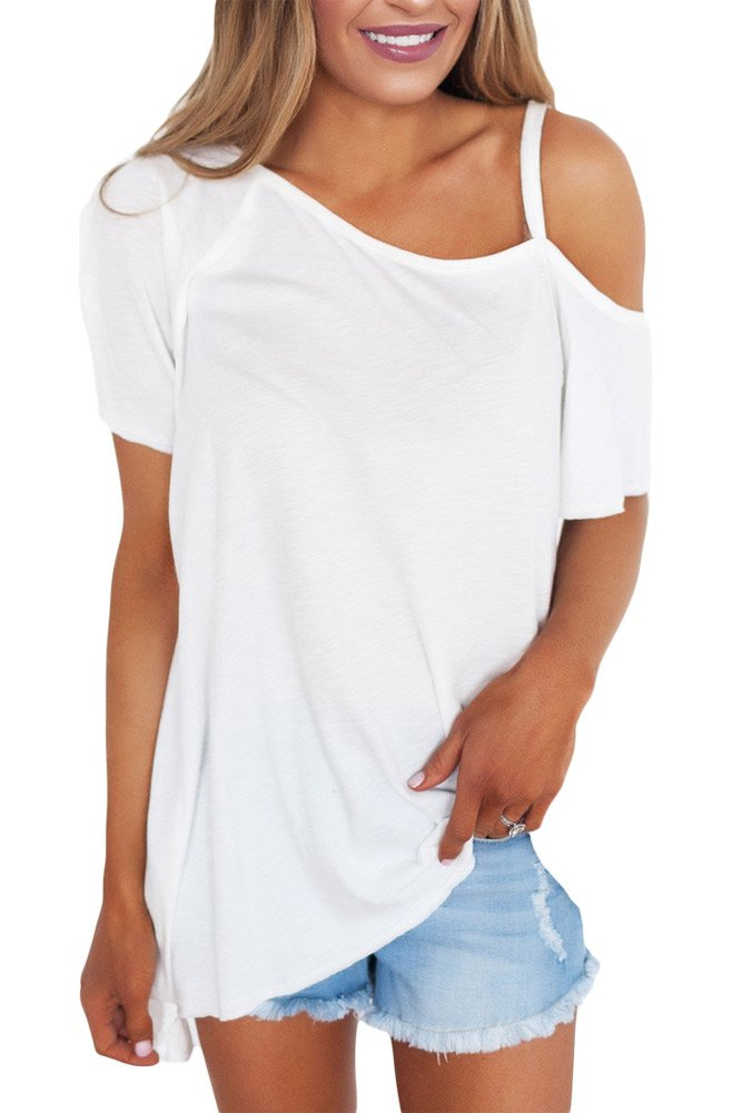 White Cold Shoulder Short Sleeve Loose Fit Tops