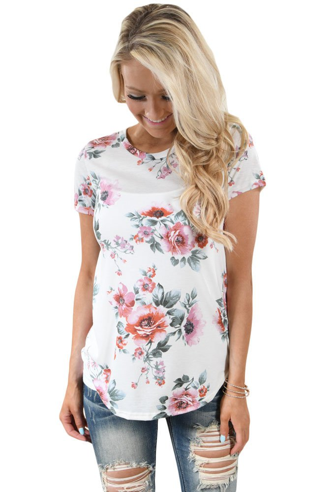 Short Sleeve Round Neck Blossoming Womens T-shirt