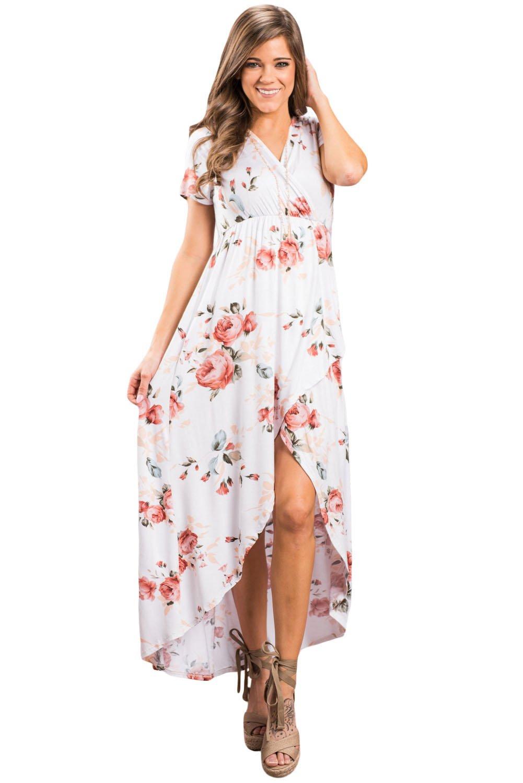 White Grounding Petals Print Boho Maxi Dress
