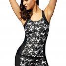 Black Round Neck Flower Print Tankini Bathing Suit