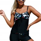 Floral Detailing Bandeau Tankini & Shorts 2pcs Swimsuit