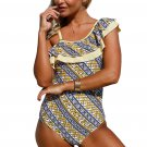 Stylish Print Ruffle One Shoulder Teddy Swimsuit
