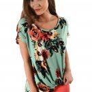 Green Floral Short Sleeve Knot Top