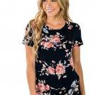 Black Short Sleeve Round Neck Floral Printed T-shirt