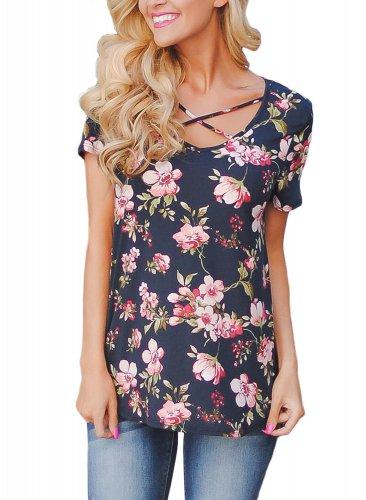 Navy Blue Super Soft Floral Tee Shirt with Crisscross Neck