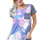 Purple Floral and Striped Casual T-shirt