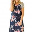 Navy Blue Backdrop Floral Print A-line Loose T-shirt Dress