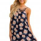 Blue Floral Print Crisscross Neckline Shift Dress