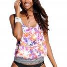 Vibrant Floral Beach Ethnic Print 2pcs Tankini Swimsuit