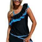 Blue Ruffle Detail One Shoulder Tankini Swimsuit