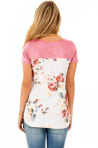 Pink Floral Print Lower Back T-shirt