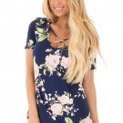 Deep Blue Super Soft Floral Tee Shirt with Crisscross Neck