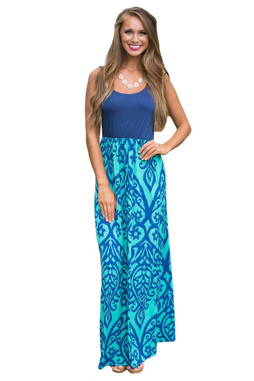 Light Blue Damask Print Sleeveless Long Boho Dress