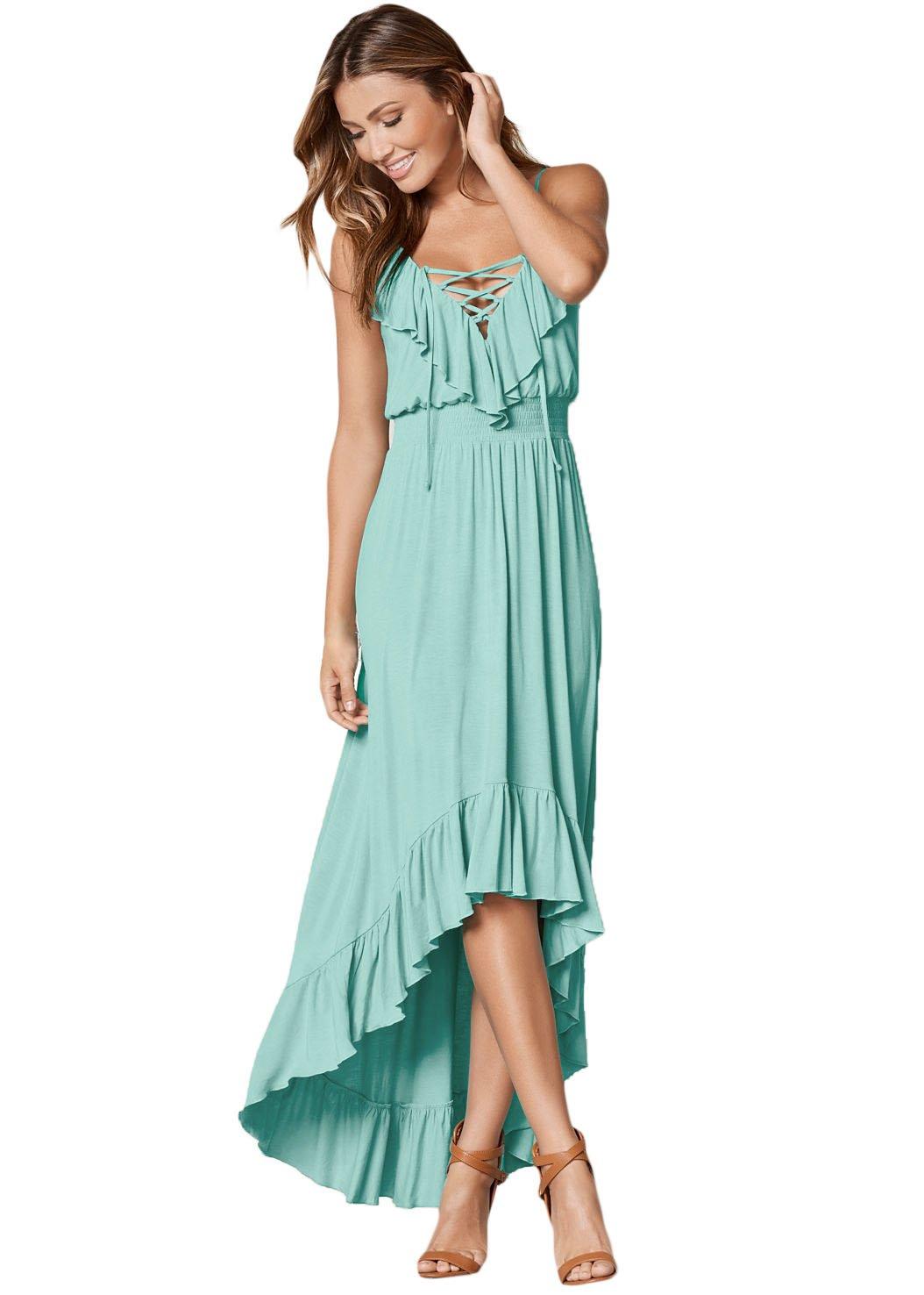 Mint Green Lace Up V Neck Ruffle Trim Hi-low Maxi Dress