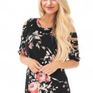 Ladder Cutout Sleeve Black Floral Top