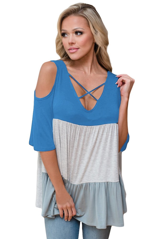 Light Blue Color Block Criss Cross V Neck Cold Shoulder Top