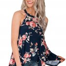 Navy Floral Print Flowy Tank Top for Women