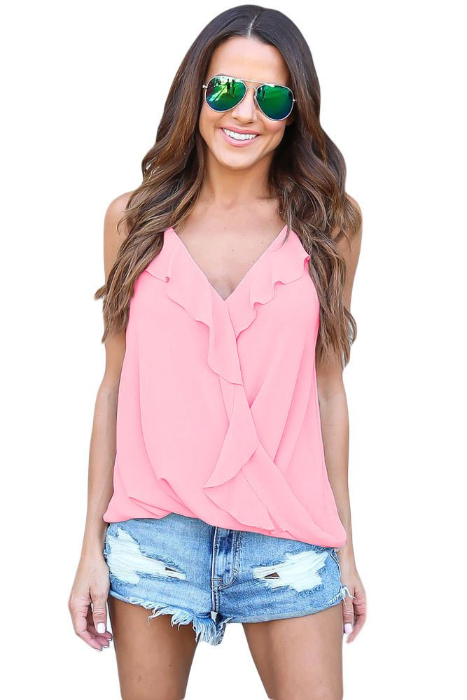 Pink Wrapped Ruffle Tank