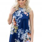 Slate Blue Floral Print High Neck Tank Top