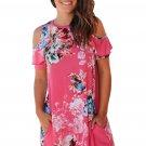 Ruffled Cold Shoulder Rosy Floral Dress