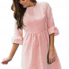 Red White Stripe Flounce Sleeve Seersucker Dress