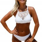 White Crop Lace Overlay Bikini Set