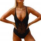 Black Crochet Front Detail One Piece Bathing Suit