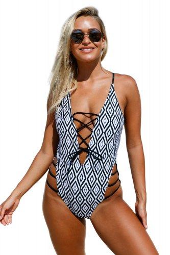 Show Your Geometric One Piece Swimsuit