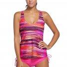 Rosy Bandeau Bikini Swimsuit Printed Vest Tunic