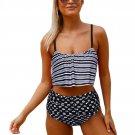 Glowing Top and Striped Bottom High Waist Swimwear