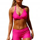 Rosy Wrap Push up Halter High Waist Shorts Swimsuit