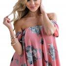 Hot Pink Floral Off Shoulder Blouse