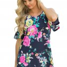 Multi Floral Print Navy Background Womens Top