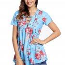 Blue Floral Grommet Lace Up V Neck Loose Shirt