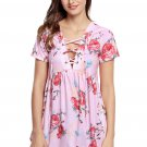Pink Floral Grommet Lace Up V Neck Loose Shirt