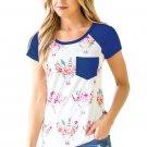 Navy Blue Short Sleeve Pocket Floral Shirt
