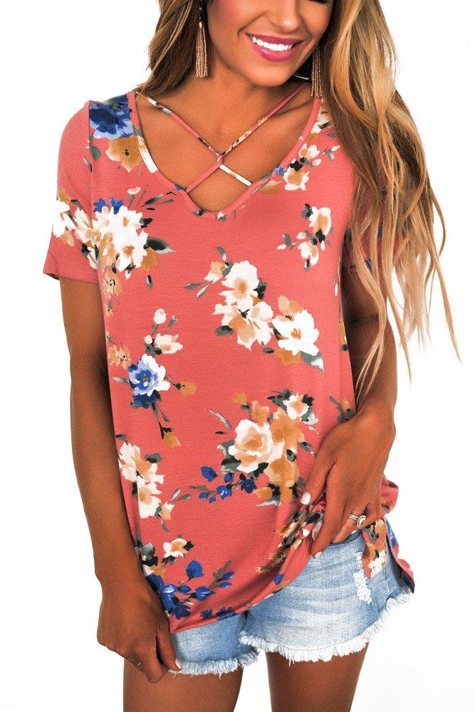 Pink Floral Print Crisscross V Neck Casual Shirt