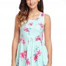 Cyan Blooms Floral Print Sleeveless Babydoll Tank