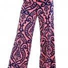 Damask Print Pink Palazzo Pants