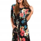 Black Floral Long Sleeve A-Line Tunic Dress
