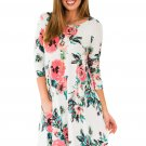 White Floral Long Sleeve A-Line Tunic Dress